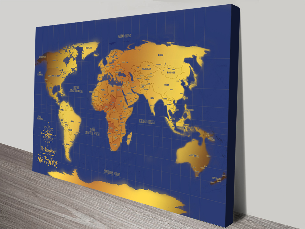 Custom Blue And Gold World Map Canvas Print