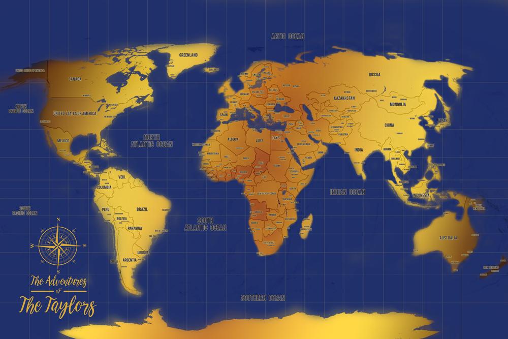 Blue And Gold World Map Pin Corkboard Wall Art