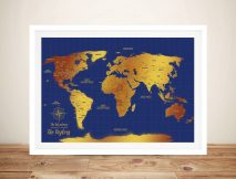 Custom Blue & Gold Pushpin World Travel Map Art Gift