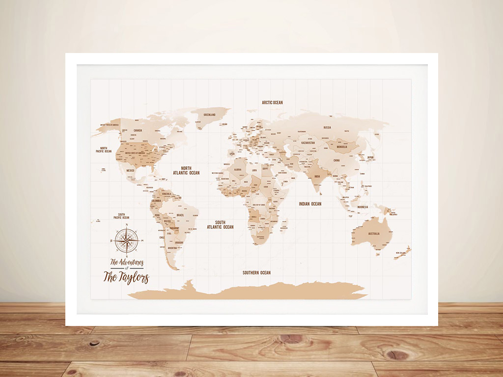 Pushpin World Map Framed Wall canvas art | Mocha Shades Push Pin Map