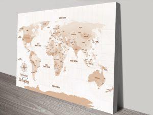 Light Brown Pushpin World Map canvas print