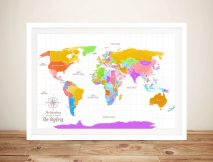 Multi Coloured Custom World Map Wall Art