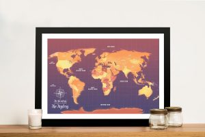 Orange Push Pin Map Canvas Customised Pictures Artwork