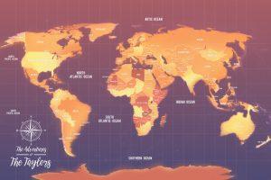 Orange PushPin Map Canvas Print Australia