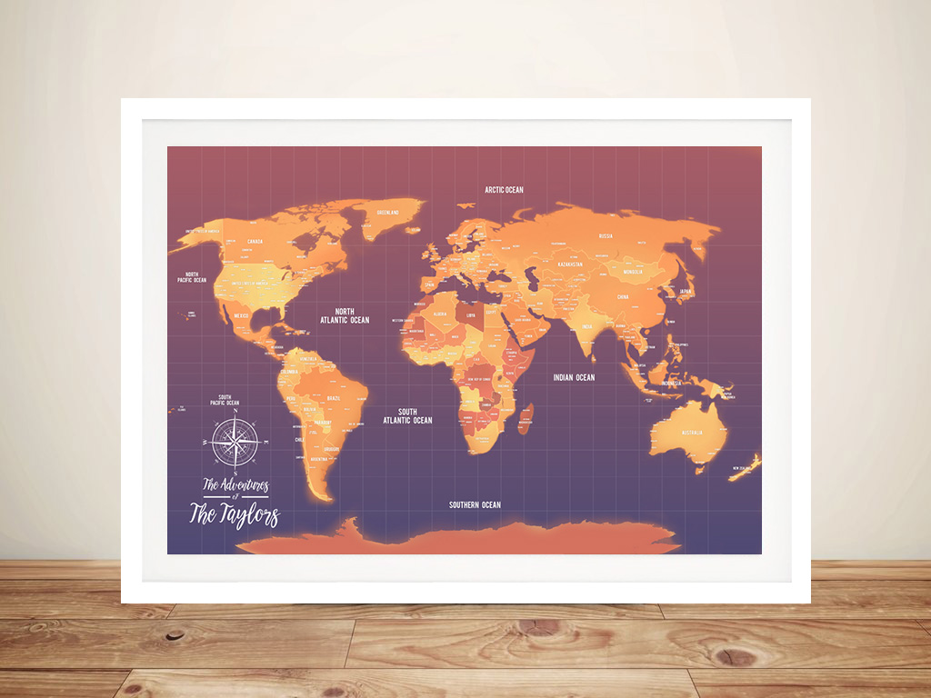 Orange Push Pin Map Canvas Customised Pictures Artwork | Orange Tones Push Pin Custom Map