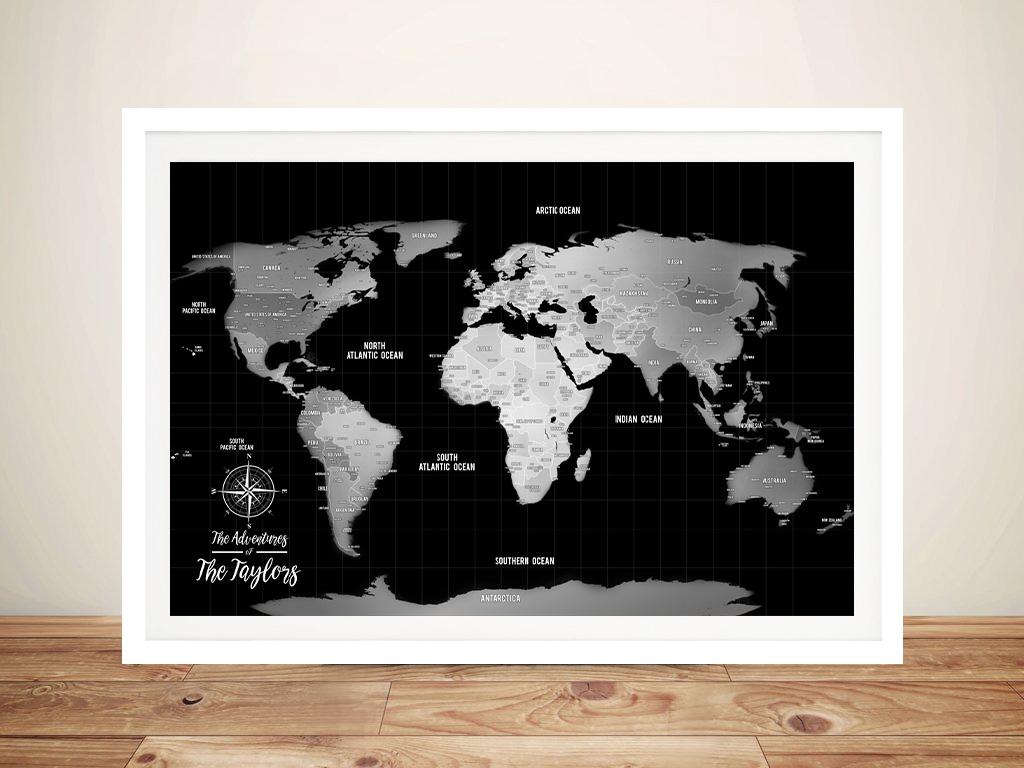 Silver World Map Corkboard Wall Art | Silver & Black Push Pin World Map