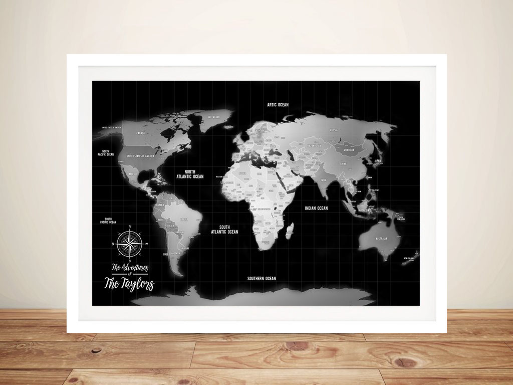 Silver World Map Corkboard Wall Art