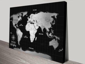 Silver Push Pin Travel Map Canvas Wall Art