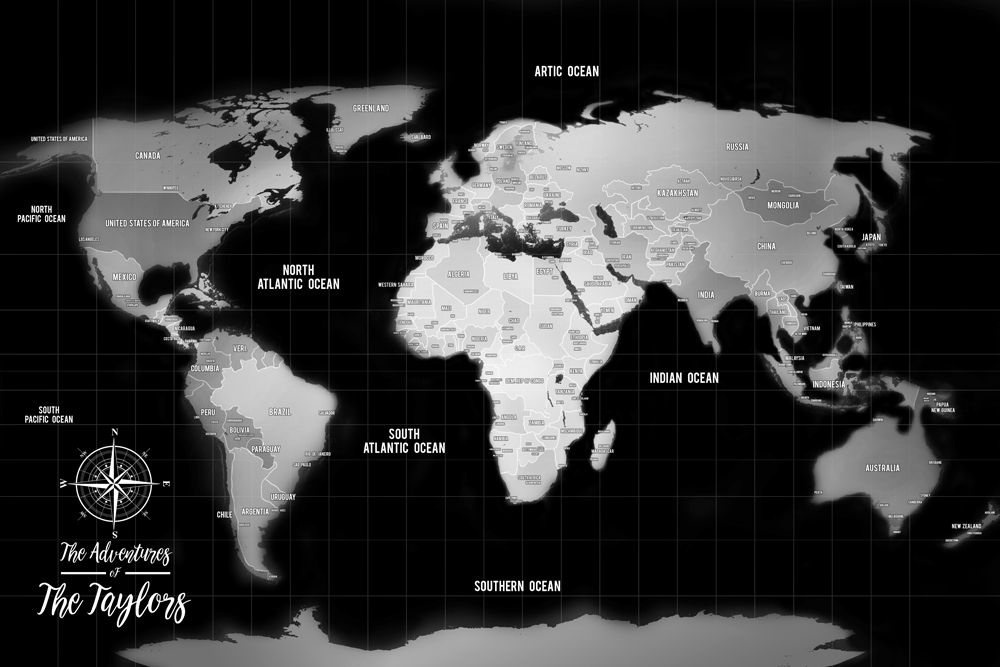 Silver World Traveller Map Pinboard Art Gift