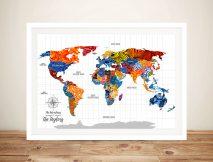 Uber Phunk Push Pin Patterned Travel Map Artwork
