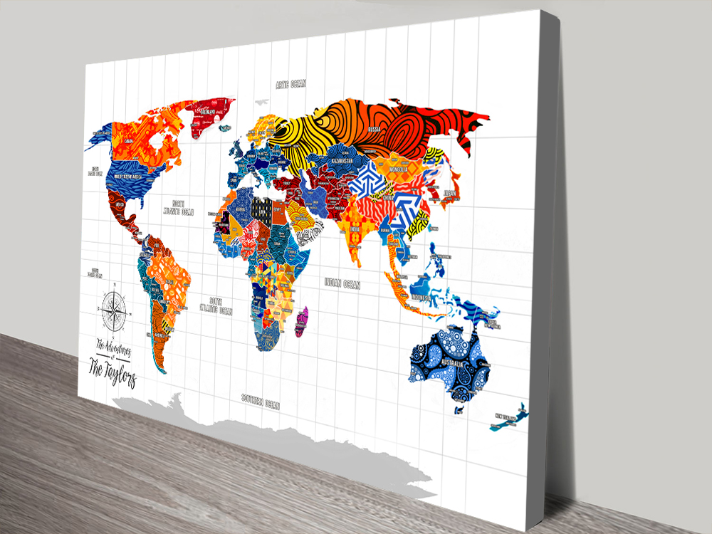 Patterned Push Pin Patterned Travel Map Canvas Art