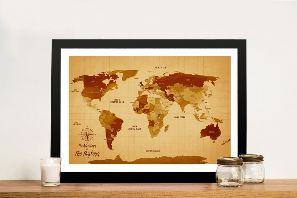 Vintage Corkboard World Travel Map with Pins