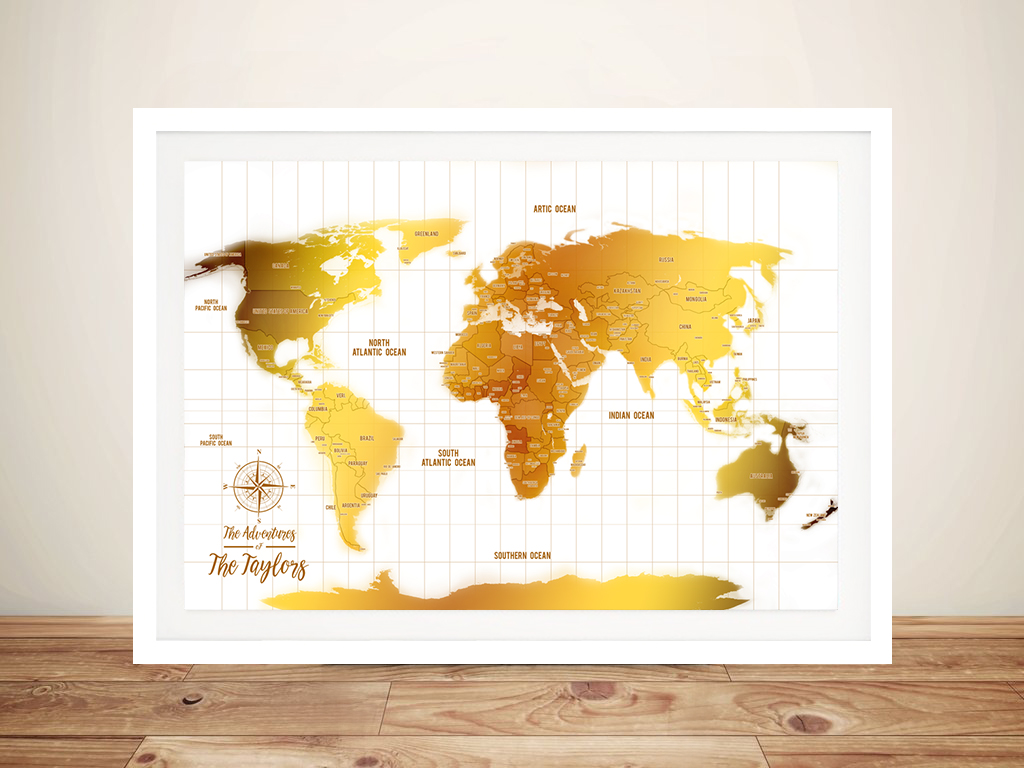 White And Gold World Map Framed Wall Art | *White & Gold Push Pin Travel Map