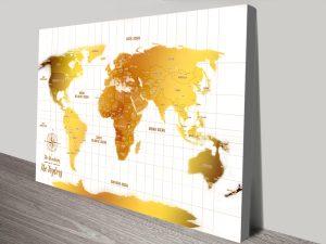 Personalised White & Gold Push Pin Travel Map