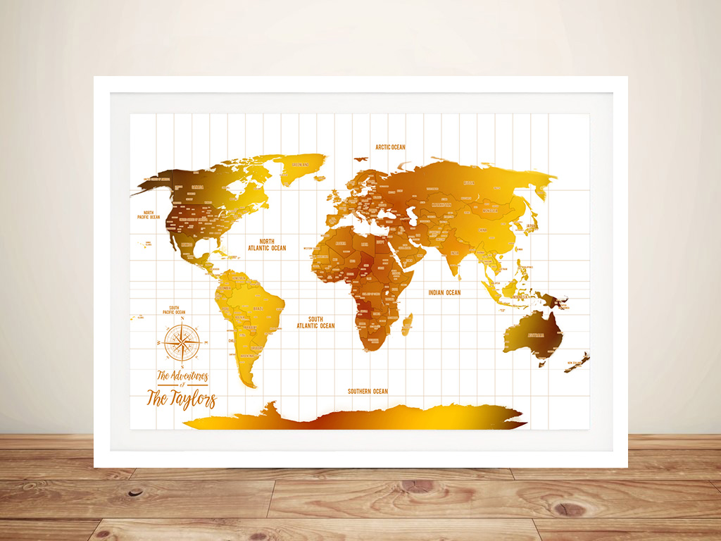 White And Gold World Map Framed Wall Art | White & Gold Push Pin Travel Map