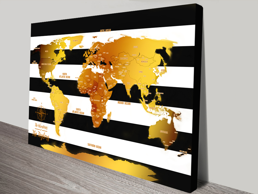 | White Stripes & Gold Push Pin Map