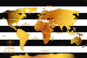 Push Pins White Stripes And Gold World Travel Map