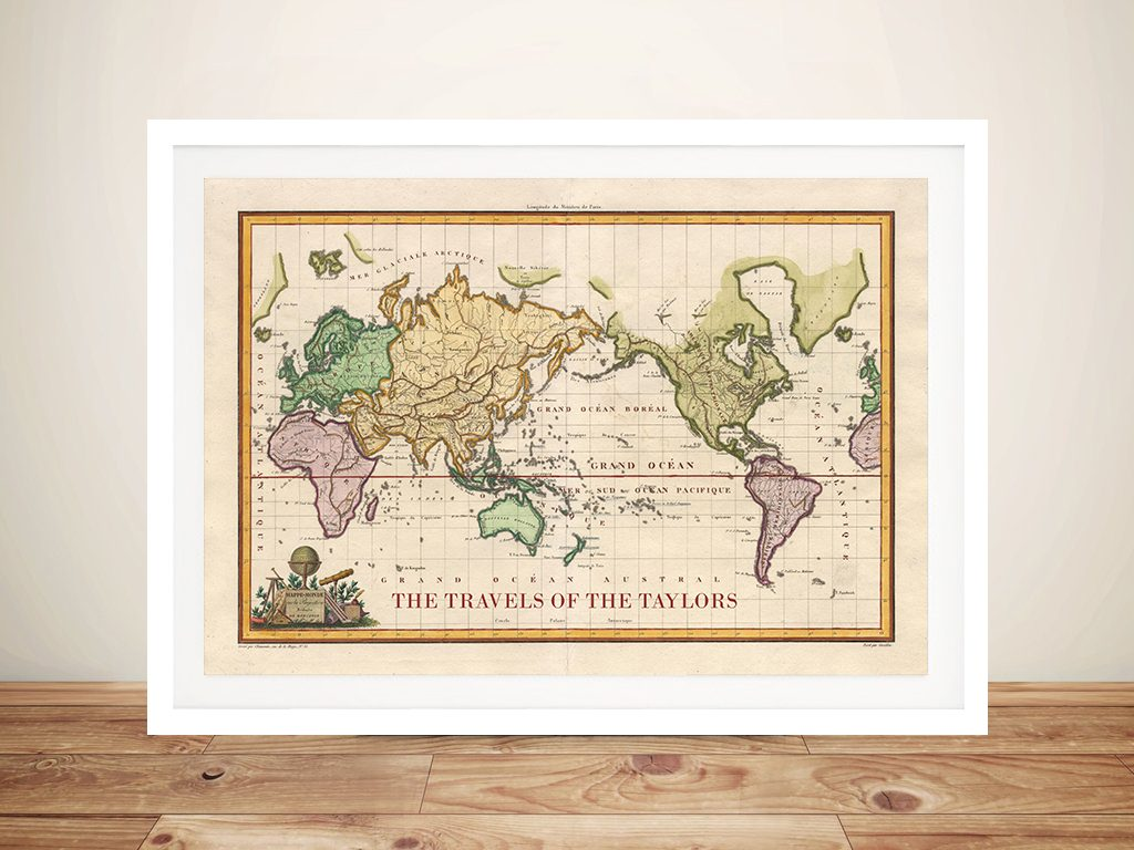 Customised Old World Push Pin Travel Map Artwork