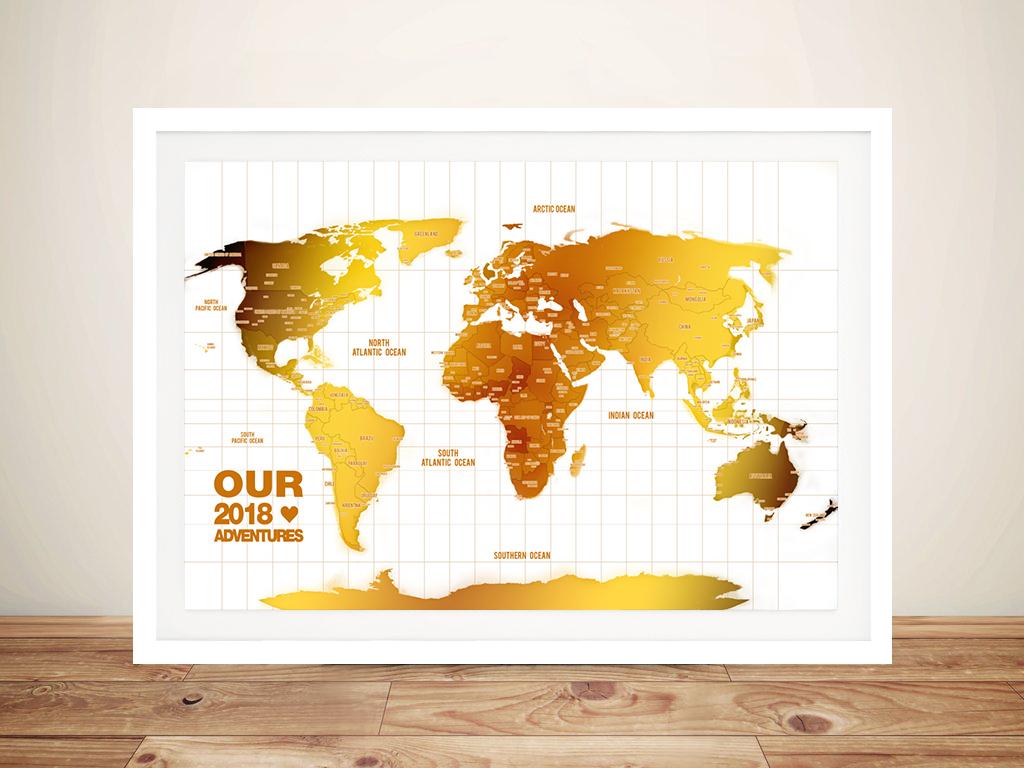 World Map Framed Wall Art.Personalised White Gold Push Pin Travel Map Art Gift