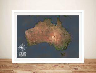 Australia Push Pin Map Framed Wall Art