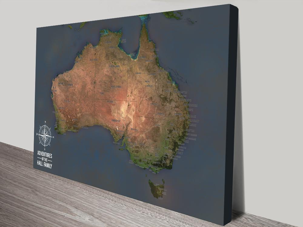 Australia Push Pin Map Canvas Print