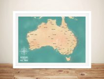 Teal Green Australia Push Pin Travel Map