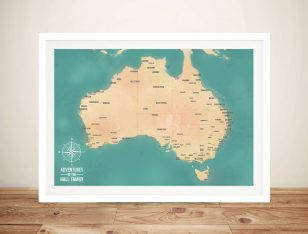 Teal Green Australia Push Pin Travel Map