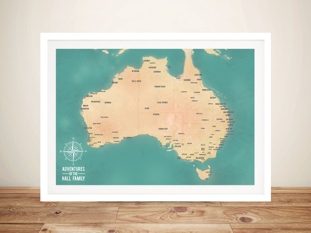 Teal Green Australia Push Pin Travel Map | Australia Push Pin Map – Teal