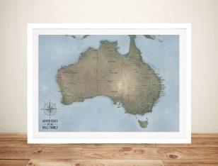 Custom Cyan Australia Push Pin Travel Map