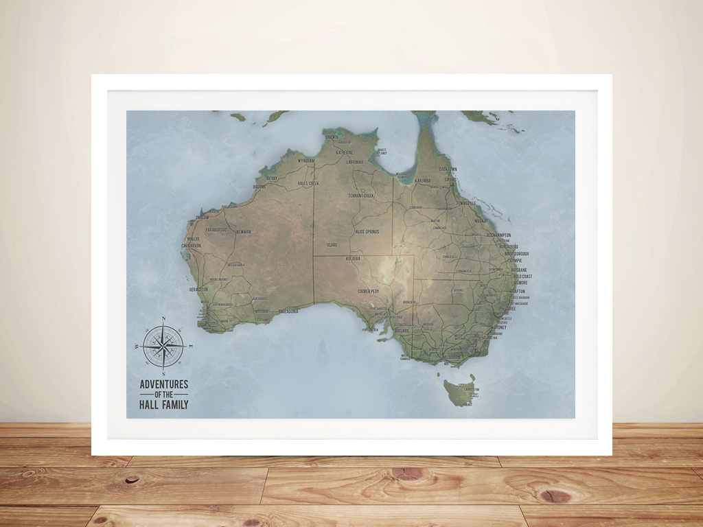 Custom Cyan Australia Push Pin Travel Map | Australia Push Pin Map – Cyan