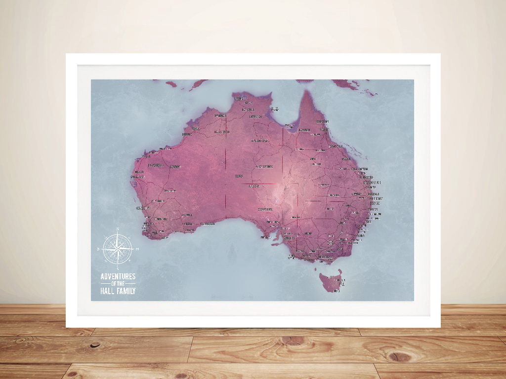 Customised Magenta Australia Push Pin Travel Map | Australia Push Pin Map – Magenta