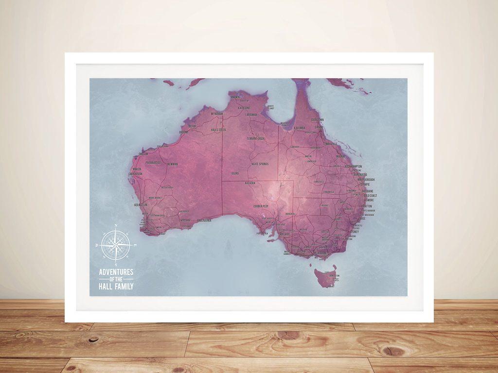 Customised Magenta Australia Push Pin Travel Map
