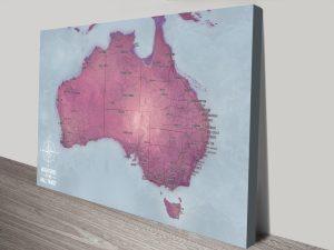 Customised Magenta Australia Push Pin Travel Map Canvas