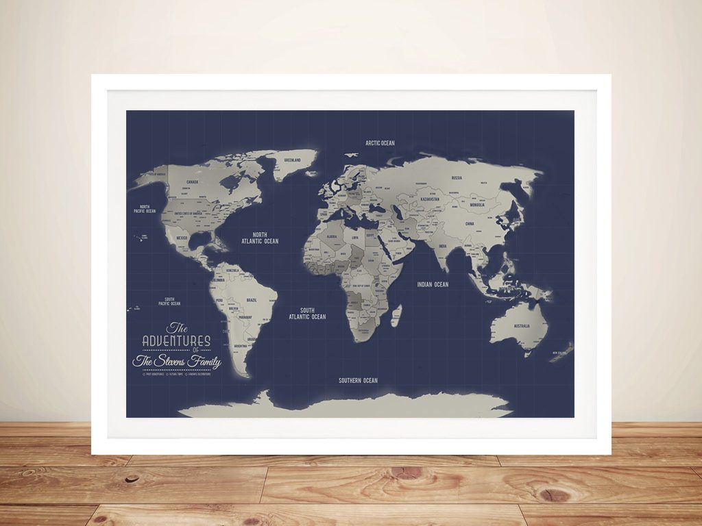 Navy Blue & Silver Push Pin Travel Map