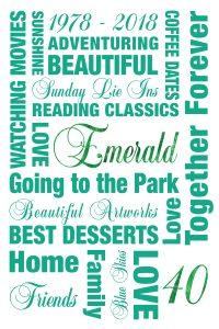 Custom Emerald Wedding Art Gift