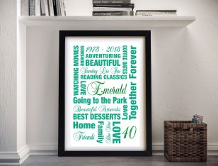 Emerald Wedding Anniversary Framed Wall Art