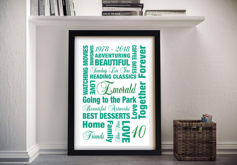 Emerald Wedding Anniversary Framed Wall Art | 40th Emerald Anniversary Art