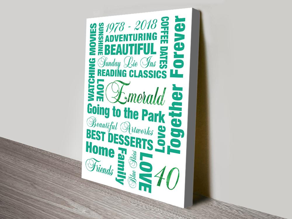 Personalised Emerald Anniversary Artwork