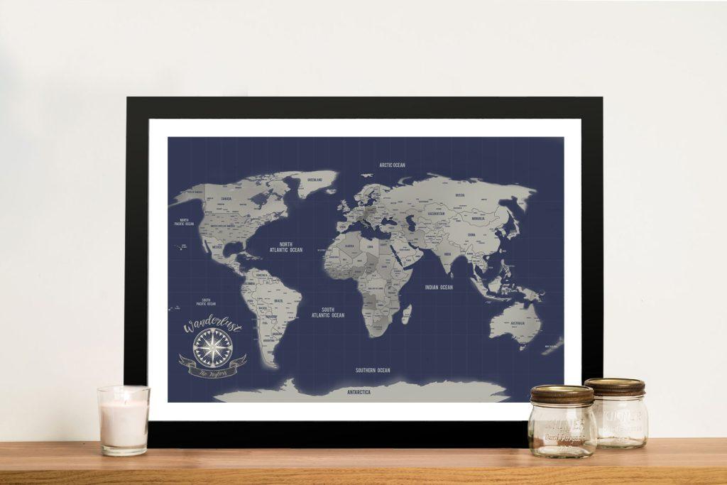 Navy Blue & Silver Push Pin Travel Map
