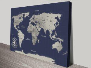 Navy Blue Pinboard World Map Canvas Print