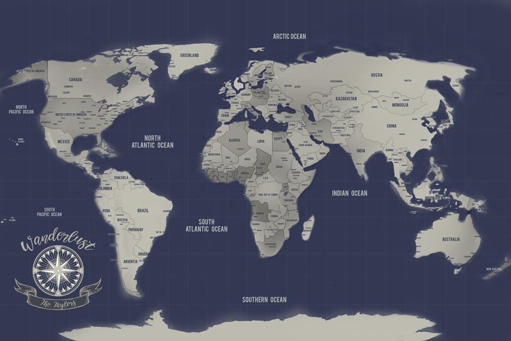 Navy Blue World Map Art