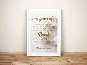 Pearl Wedding Anniversary Personalised Artwork