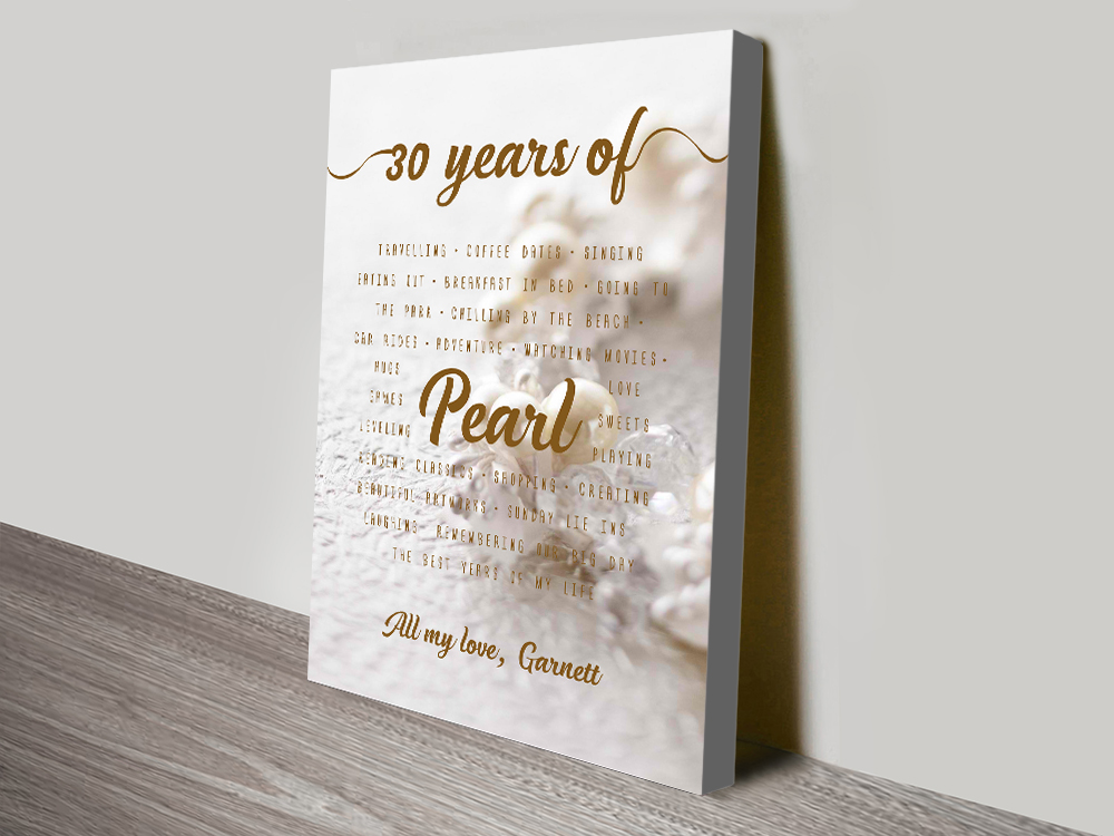 30th Wedding Anniversary Gifts For Him: 30th Pearl Wedding Anniversary Gift Art Word Art Australia