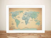 Sand & Teal Push Pin Travel Map Framed Wall Artwork