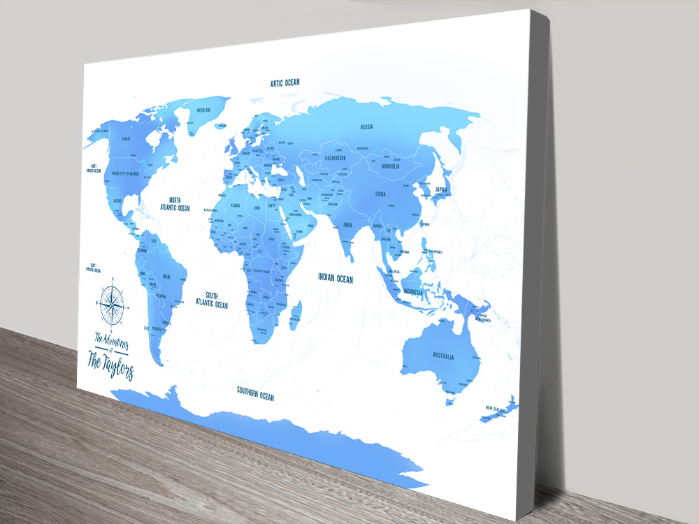 Personalized Sky Blue Pushpin Travel Map Art with Pins