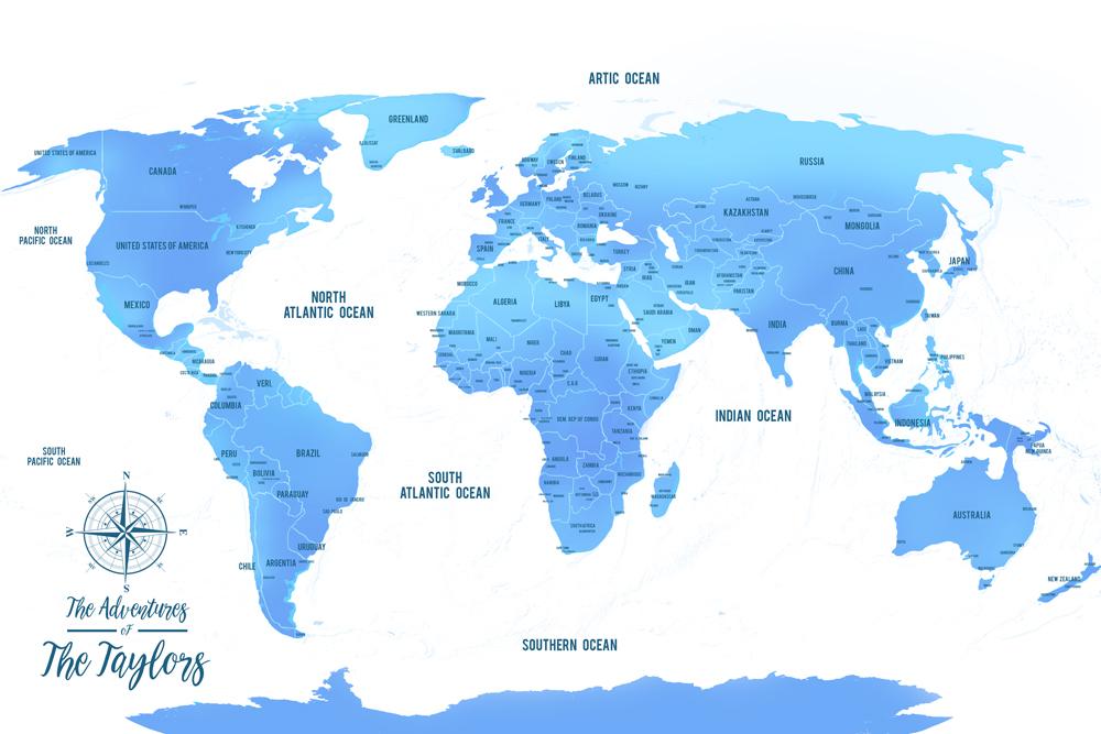 Sky Blue Push Pin Map Republic Artwork