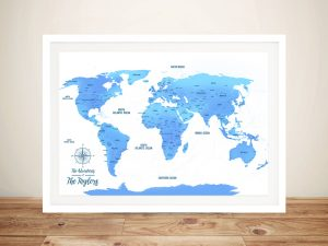 Personalized Sky Blue Push Pin Framed Artwork