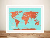 Turquoise And Orange World Map Framed Wall Art