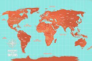 Custom Turquoise and Orange Push Pin World Map Canvas