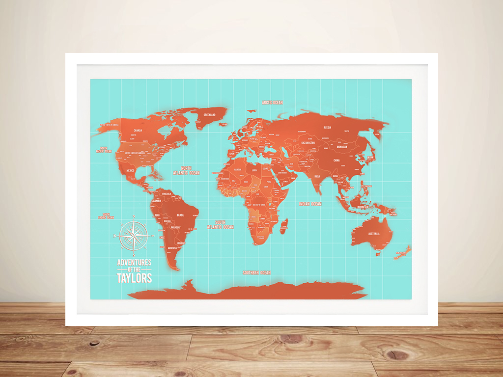 Turquoise And Orange World Map Framed Wall Art | Turquoise and Orange Push Pin World Map